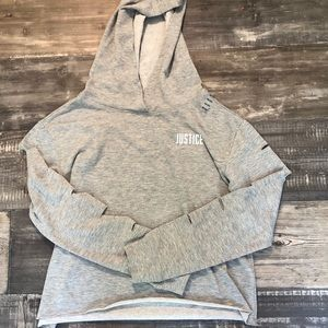 Brand new justice long sleeve hooded tee